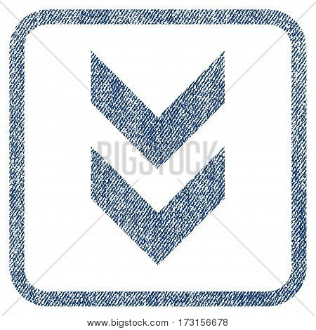 Shift Down vector textured icon for overlay watermark stamps. Blue jeans fabric vectorized texture. Symbol with unclean design inside rounded rectangular frame.