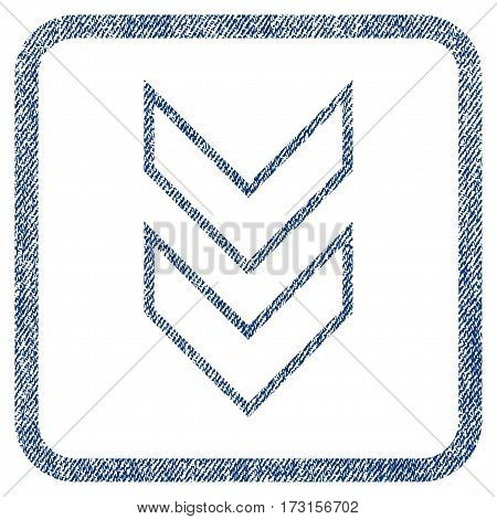 Shift Down vector textured icon for overlay watermark stamps. Blue jeans fabric vectorized texture. Symbol with dust design inside rounded rectangular frame.