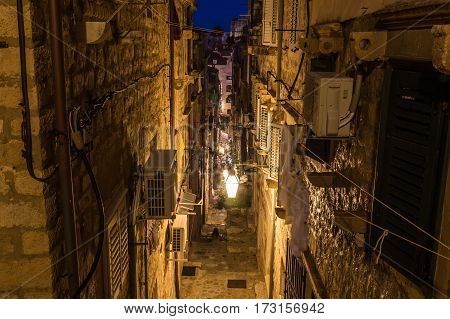 DUBROVNIK CROATIA - 11TH AUGUST 2016: A view along streets of Dubrovnik at night.