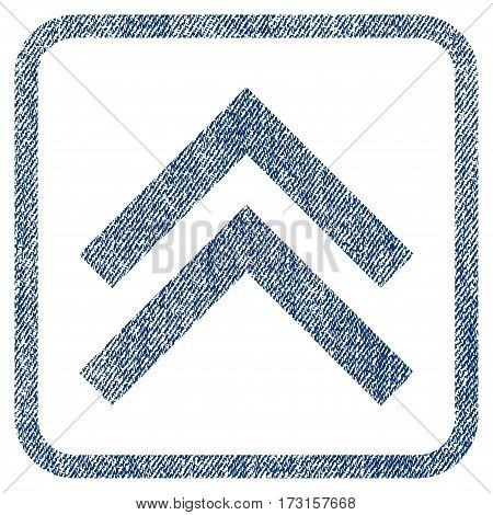 Shift Up vector textured icon for overlay watermark stamps. Blue jeans fabric vectorized texture. Symbol with dust design inside rounded rectangular frame.