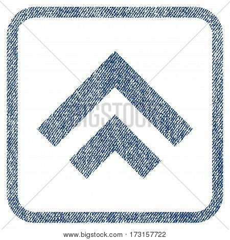 Shift Up vector textured icon for overlay watermark stamps. Blue jeans fabric vectorized texture. Symbol with dirty design inside rounded rectangular frame.