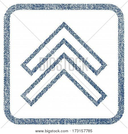 Shift Up vector textured icon for overlay watermark stamps. Blue jeans fabric vectorized texture. Symbol with scratched design inside rounded rectangular frame.