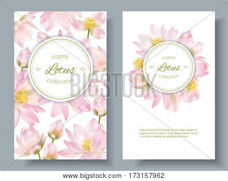 Vector botanical vertical banners with lotus flowers on white. Design for natural cosmetics, health care and ayurveda products, yoga center. Can be used as greeting card or wedding invitation.