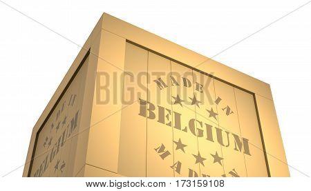 Import - Export Wooden Crate. Made In Belgium. 3D Illustration