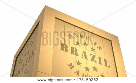 Import - Export Wooden Crate. Made In Brazil. 3D Illustration
