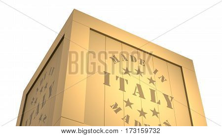 Import - Export Wooden Crate. Made In Italy. 3D Illustration