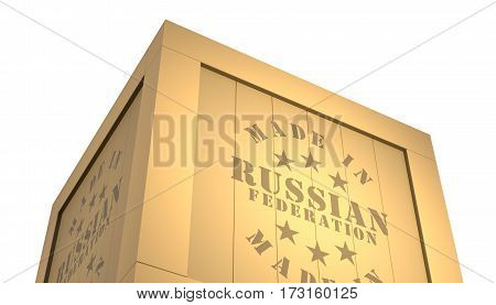 Import - Export Wooden Crate. Made In Russian Federation. 3D Illustration