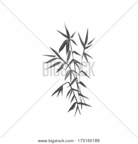 Bamboo japanese grey plant isolated vector illustration