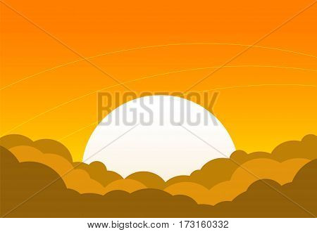 Cartoon sunset with bright sun with clouds. Vector illustration