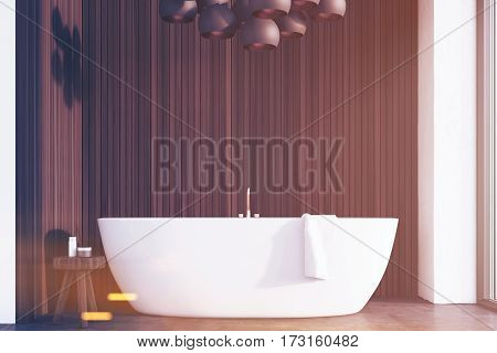 Bathroom With Lamps, Dark Wood, Front, Toned