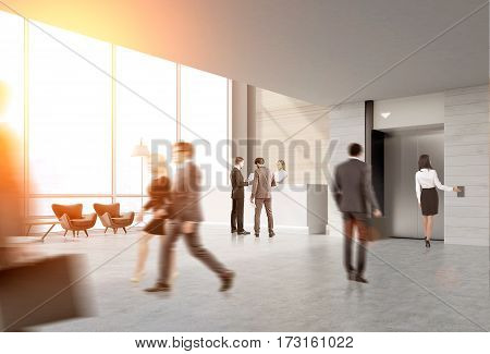 Rear view of business people in an elevator hall of their office. There is a reception desk in the corner. Panoramic windows. 3d rendering. Toned image. Mock up.