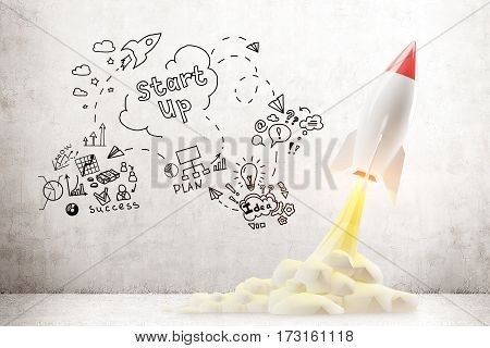 Launching rocket model taking off against concrete background. Start up sketch. Concept of project launching in business. 3d rendering mock up
