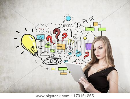 Portrait of a blond woman with a cleavage holding a tablet computer and standing near a concrete wall with a colorful business plan sketch on it.