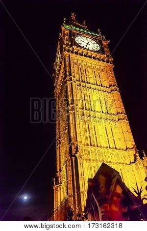Big Ben Tower Westminster Bridge Night Houses of Parliament Westminster London England. Named after the Bell in the Tower. Has kept exact time since 1859.