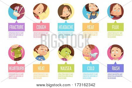 Isolated in circles cartoon sikness child icon set with fracture cough headache heat flux heartburn and others descriptions vector illustration