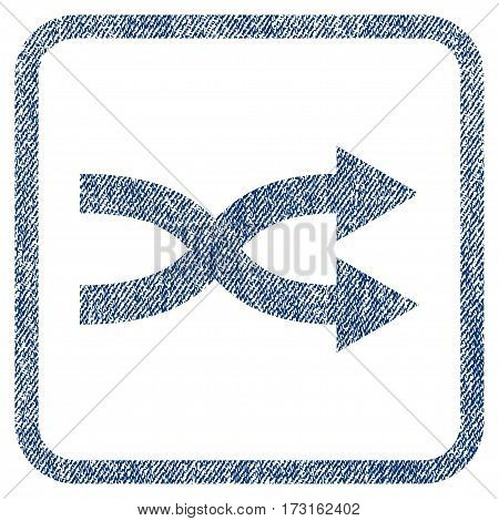 Shuffle Arrows Right vector textured icon for overlay watermark stamps. Blue jeans fabric vectorized texture. Symbol with scratched design inside rounded rectangular frame.