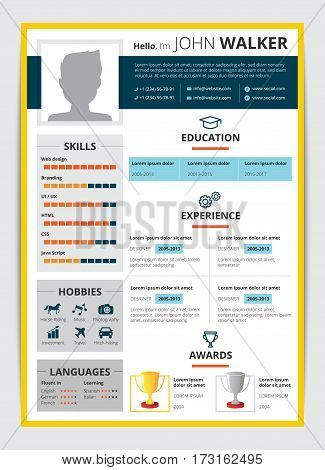 Cv template with male candidate education job experience awards and other information resume flat vector illustration