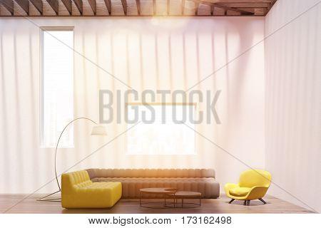White Living Room Interior, Windows, Toned