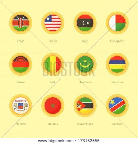 African Circular Flags (kenya, Mauritius, Morocco)