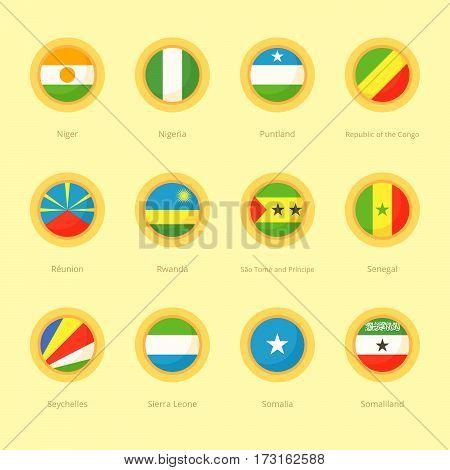 African Circular Flags (nigeria, Reunion, Seychelles)