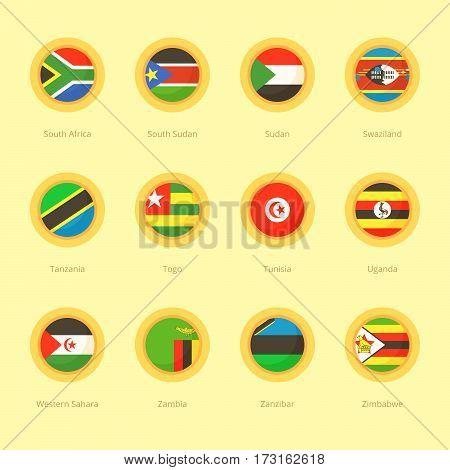 African Circular Flags (south Africa, Tanzania, Tunisia)