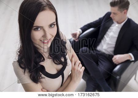 Businesswoman Is Happy With Her Boss