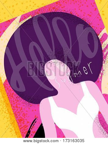 Hello summer poster with sunbathing girls on the beach on the sun bright colorful modern style