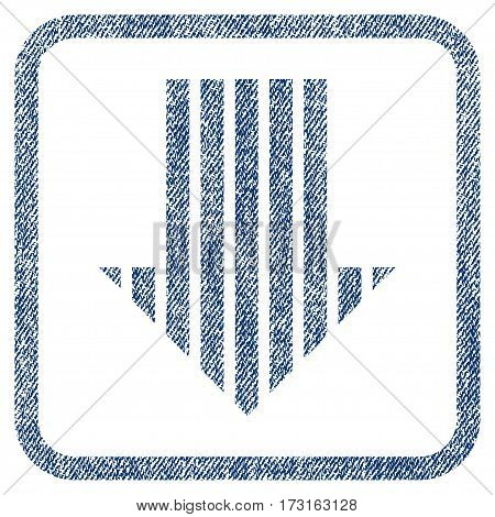 Stripe Arrow Down vector textured icon for overlay watermark stamps. Blue jeans fabric vectorized texture. Symbol with dirty design inside rounded rectangular frame.