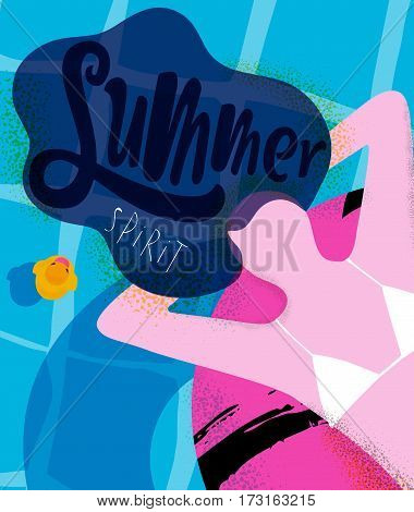 Summer spirit poster girl on inflatable ring in swimming pool bright colorful modern style