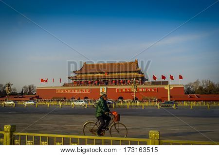 BEIJING, CHINA - 29 JANUARY, 2017: Spectacular temple of forbidden city as seen from Tianmen square, beautiful blue sky.
