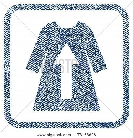 Take Off Female Dress vector textured icon for overlay watermark stamps. Blue jeans fabric vectorized texture. Symbol with scratched design inside rounded rectangular frame.