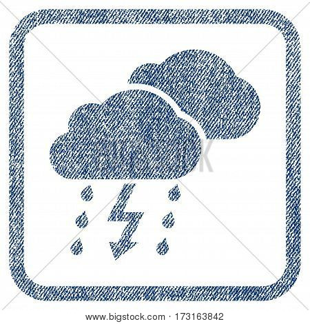Thunderstorm Clouds vector textured icon for overlay watermark stamps. Blue jeans fabric vectorized texture. Symbol with dirty design inside rounded rectangle.