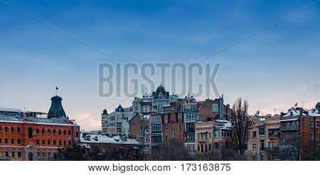 Old cityscape architecture , in heart of Kiev city , Ukraine . Podol