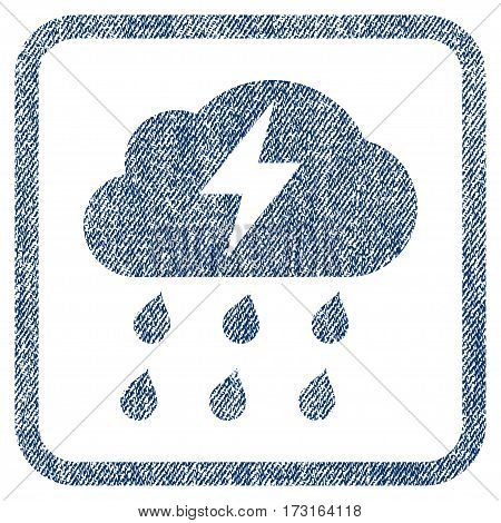 Thunderstorm vector textured icon for overlay watermark stamps. Blue jeans fabric vectorized texture. Symbol with unclean design inside rounded rectangle.
