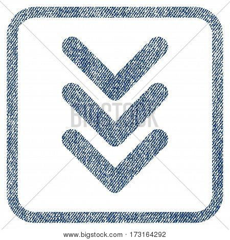 Triple Arrowhead Down vector textured icon for overlay watermark stamps. Blue jeans fabric vectorized texture. Symbol with scratched design inside rounded rectangular frame.