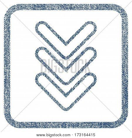 Triple Pointer Down vector textured icon for overlay watermark stamps. Blue jeans fabric vectorized texture. Symbol with dirty design inside rounded rectangular frame.