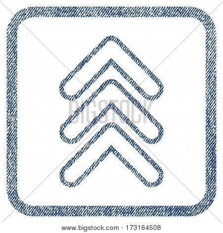 Triple Pointer Up vector textured icon for overlay watermark stamps. Blue jeans fabric vectorized texture. Symbol with dirty design inside rounded rectangular frame.
