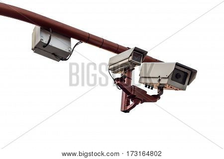 image of CCTV camera isolated on white background