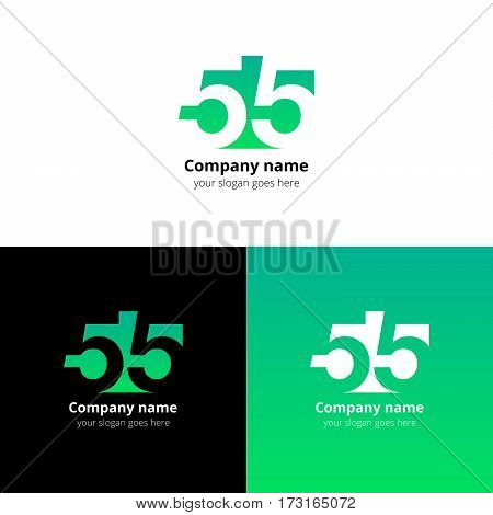 55 logo icon flat and vector design template. Monogram numbers five. Logotype fifty-five with light green gradient color. Creative vision concept logo, elements, sign, symbol for card, brand, banners.