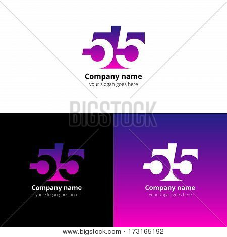55 logo icon flat and vector design template. Monogram numbers five. Logotype fifty-five with pink-purple gradient color. Creative vision concept logo, elements, sign, symbol for card, brand, banners.