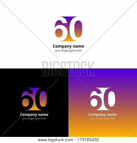 60 logo icon flat and vector design template. Monogram numbers six and zero. Logotype sixteen with yellow-pink gradient color. Creative vision concept logo, elements, sign, symbol for card, brand.