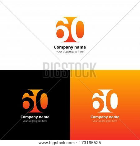 60 logo icon flat and vector design template. Monogram numbers six and zero. Logotype sixteen with orange gradient color. Creative vision concept logo, elements, sign, symbol for card, brand.