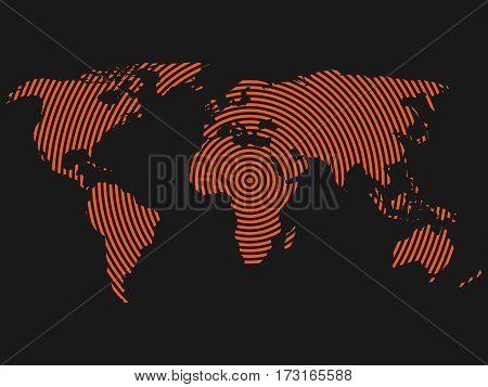 World map of orange concentric rings on dark grey background. Worldwide communication radio waves concept Modern design vector wallpaper.