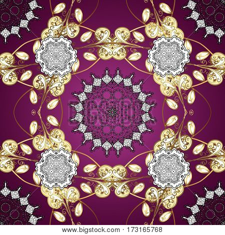 Seamless vintage pattern on purple background with golden elements. Christmas snowflake new year. Golden pattern on purple background with golden elements.