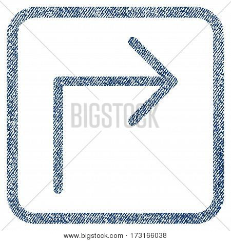 Turn Right vector textured icon for overlay watermark stamps. Blue jeans fabric vectorized texture. Symbol with dust design inside rounded rectangular frame.