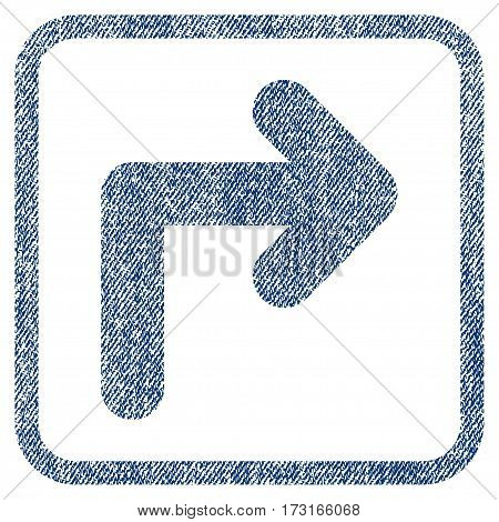Turn Right vector textured icon for overlay watermark stamps. Blue jeans fabric vectorized texture. Symbol with dirty design inside rounded rectangle.