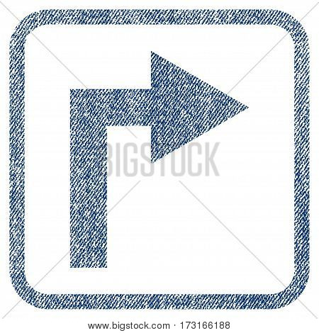 Turn Right vector textured icon for overlay watermark stamps. Blue jeans fabric vectorized texture. Symbol with scratched design inside rounded rectangle.