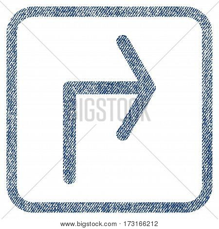 Turn Right vector textured icon for overlay watermark stamps. Blue jeans fabric vectorized texture. Symbol with scratched design inside rounded rectangular frame.