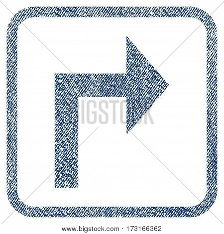 Turn Right vector textured icon for overlay watermark stamps. Blue jeans fabric vectorized texture. Symbol with unclean design inside rounded rectangle.