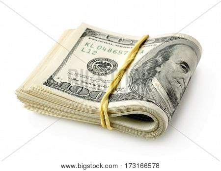 Dollar bills tied with a rubber band isolated on a white background